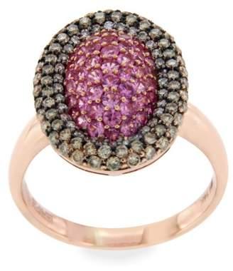 Effy 14K Rose Gold Brown Diamond & Pink Sapphire Ring Size 7.25