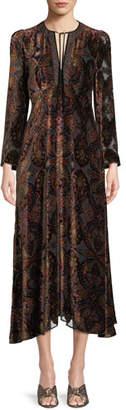 Etro Paisley-Print Velvet A-Line Granny Dress w/ Cravat Trim