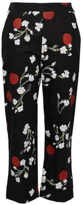 Isa Arfen Cropped Floral-print Cotton-poplin Tapered Pants