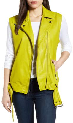 Kenneth Cole New York Washed Green Leather Moto Vest