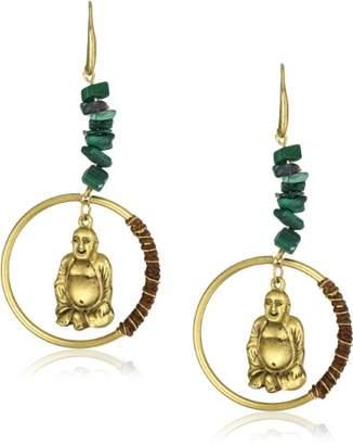 """1928 T.R.U. Jewelry Hoop Dangle""""Sitting Buddha"""" Earrings"""