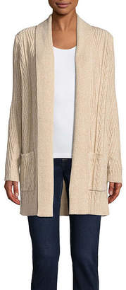 ST. JOHN'S BAY Long Sleeve Cable Cardigan - Tall