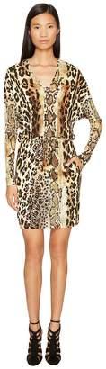 Just Cavalli Long Sleeve V-Neck Mixed Animal Print Jersey Dress Women's Dress