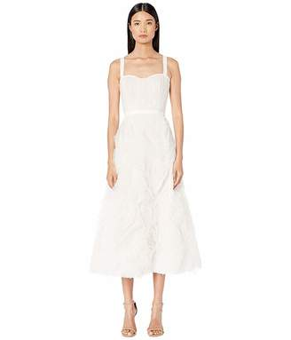Marchesa Sleeveless Textured Tulle Tea Length Gown