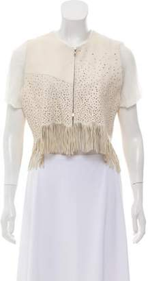 Hache Perforated Leather Jacket Cream Perforated Leather Jacket