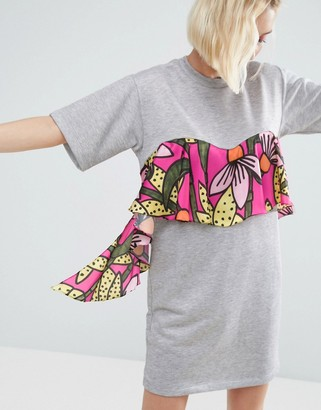 ASOS Made In Kenya Jersey T-shirt Dress With Tropical Floral Ruffle $51 thestylecure.com