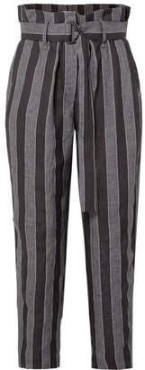 Brunello Cucinelli Striped Linen Pants - Black