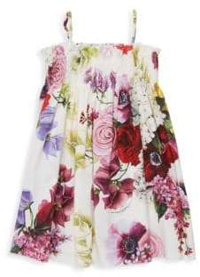 Dolce & Gabbana Little Girl's& Girl's Floral Smocked Trapeze Dress