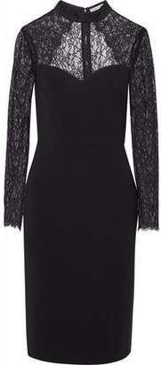Alice + Olivia Cutout Lace-Paneled Crepe Dress