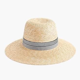J.Crew Straw hat with grosgrain ribbon