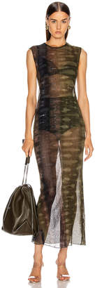 Raquel Allegra Mesh Body Con Dress in Forest Camo Tie Dye | FWRD