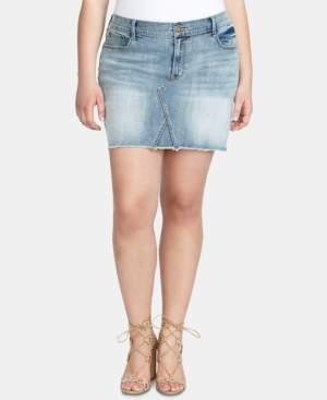 Jessica Simpson Trendy Plus Size Infinite High-Waist Denim Skirt