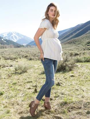 Jessica Simpson Motherhood Maternity Lurex Stitching Maternity Top