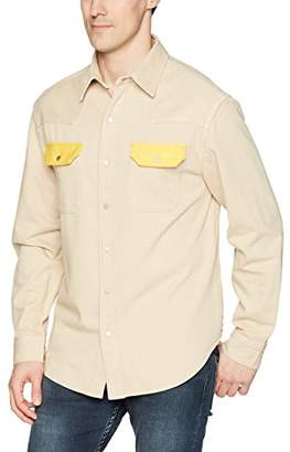 Calvin Klein Jeans Men's Khaki Western Denim Shirt Contrast Pockets Spectre Yellow