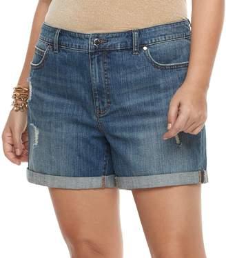 JLO by Jennifer Lopez Plus Size Cuffed Jean Shorts