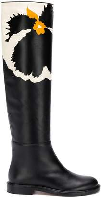 Valentino floral knee high flat boots
