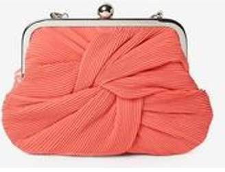 Dorothy Perkins Womens Coral Pleat Frame Clutch Bag