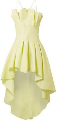 Rosie Assoulin Asymmetric Pleated Silk-jacquard Top - Chartreuse