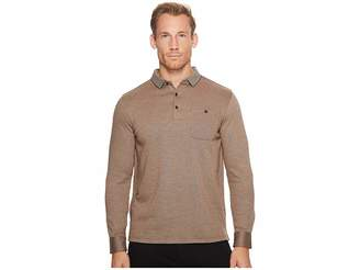 Bugatchi Long Sleeve Three-Button Polo Collar Fancy Knit w/ Cuff Pocket Men's Clothing