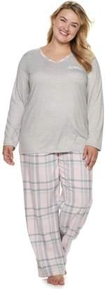 Croft & Barrow Plus Size Tee & Flannel Pants Pajama Set