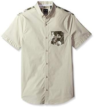 Armani Exchange A|X Men's All Over Printed Eagle Camo Short Sleeve Pocket Woven