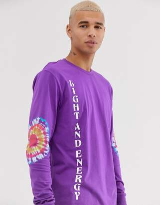 Asos Design DESIGN relaxed long sleeve t-shirt with tie dye sleeve placement and text print
