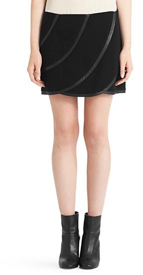 Diane von Furstenberg Karina Leather Trim Mini Skirt