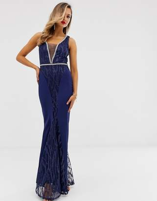City Goddess sequin and chiffon plunge maxi dress