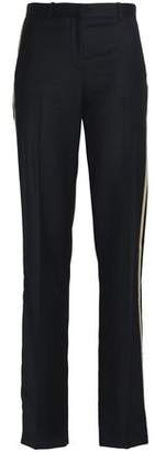 Givenchy Velvet-Trimmed Wool-Crepe Straight-Leg Pants