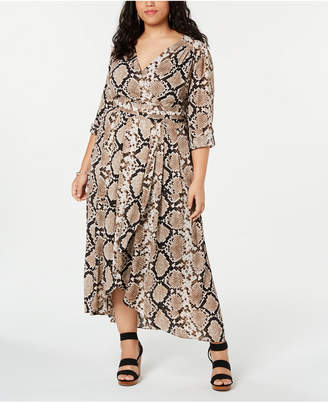 13dc2992e6911 INC International Concepts I.n.c. Plus Size Snake Printed Faux-Wrap Midi  Dress