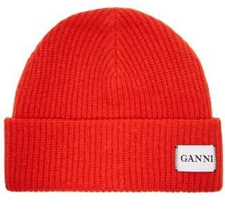 Ganni Hatley Wool Blend Beanie Hat - Womens - Red