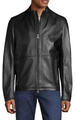 HUGO BOSS Nabino Classic Leather Biker Jacket