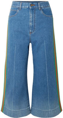 Gucci Cropped High-rise Wide-leg Jeans - Blue