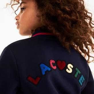 Lacoste Girls' Multicolored Patch Fleece Varsity Jacket