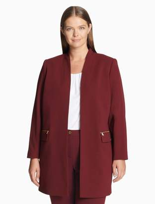 Calvin Klein plus size scuba crepe open long jacket