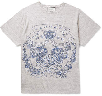 Gucci Printed Mélange Linen-jersey T-shirt