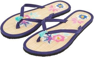 48558b2b83c681 Next Womens Accessorize Embroidered Flower Seagrass Flip Flops