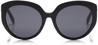 Jimmy Choo ETTY Grey Oval Sunglasses with Black Frame