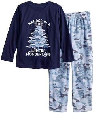 """Toddler Jammies For Your Families Holiday Camouflage """"Wander in a Winter Wonderland"""" Top & Microfleece Bottoms Pajama Set"""