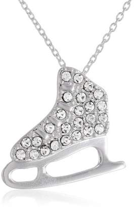Plated Crystal Ice Skate Pendant Necklace