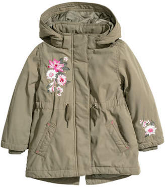 H&M Padded Parka with Hood - Green