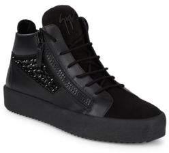 Giuseppe Zanotti Mid-Top Leather Zip Sneakers