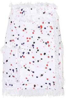 MSGM Fringed paint-splatter skirt