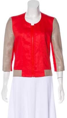 Helmut Lang Leather-Trimmed Linen-Blend Jacket