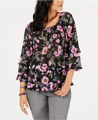 Style&Co. Style & Co Floral-Print Ruffle-Tiered Top