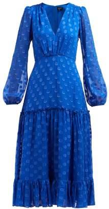 Saloni Devon Polka Dot Silk Georgette Dress - Womens - Blue