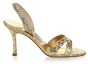 Manolo Blahnik Women's Calla Snakeskin Slingback Sandals