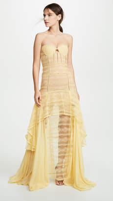 Jonathan Simkhai Embroidered Chiffon Lace Bustier Gown