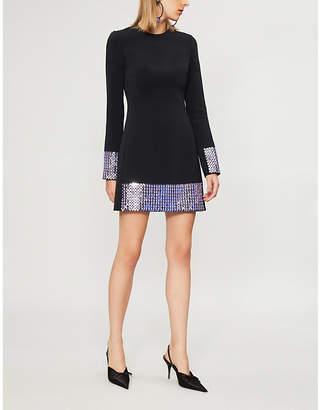 David Koma Crystal-embellished crepe mini dress