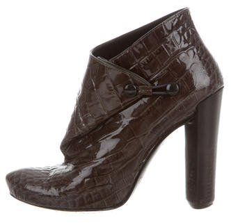 Louis Vuitton Embossed Pointed-Toe Ankle Boots